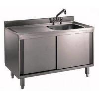 Edelstahl Spülschrank mit 1 Becken, Arbeitsplatte hinten aufgekantet