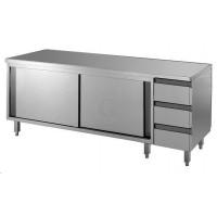 Edelstahl Arbeitsschrank mit Schubladenblock und Schiebetür Serie Standard-20