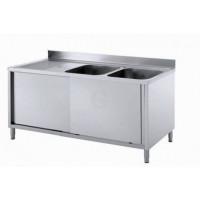 Edelstahl Spülschrank mit 2 Becken, Arbeitsplatte hinten aufgekantet