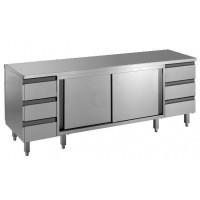 Edelstahl Arbeitsschrank mit Schubladenblock und Schiebetüren Serie Standard-20
