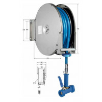 Knauss Armatur Power Reel Molkereidampf-Schlauch blau Schlauchaufroller offen 1/2 Zoll L 20 m-20