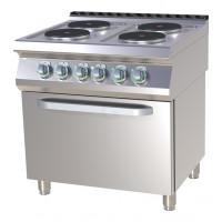 Elektroherd mit Umluftofen 4 runde Kochplatten der Serie 700 von GGG