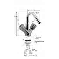 Knauss Armatur gastro Kessel Einlauf Einlochbatterie A 120 H 90-20