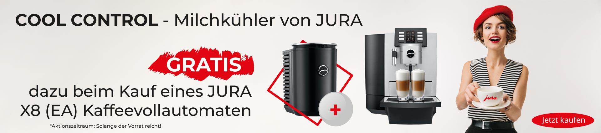 JURA X8 Platin mit Milchkühler Banner