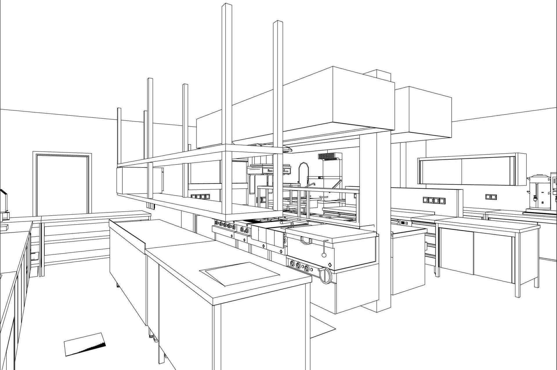 Großküchen-3D-Modell
