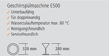 Bartscher Spülmaschine E500 technische Details