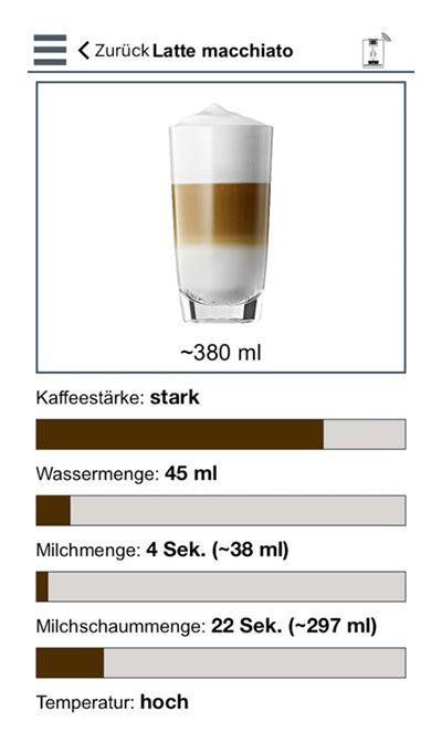 JURA Coffee App Mengenauswahl